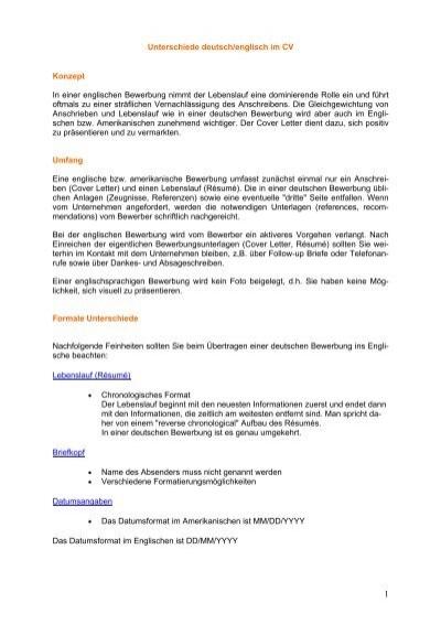 Unterschiede Deutsch Englisch Im Cv Visa Business Services