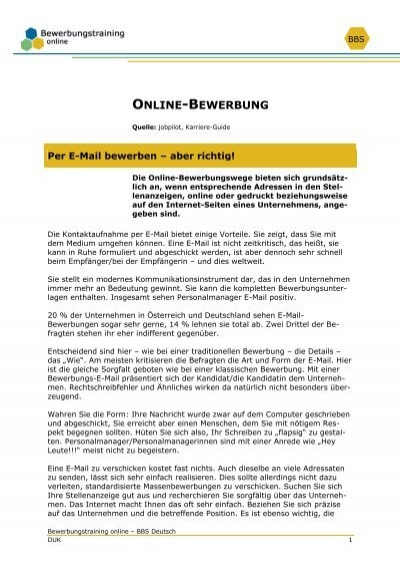 Online Bewerbung Bewerbungstraining Online