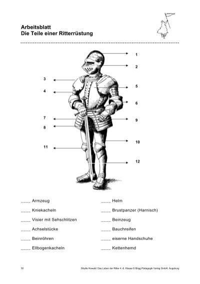 Arbeitsblatt Die Teile einer Ritterrüstung