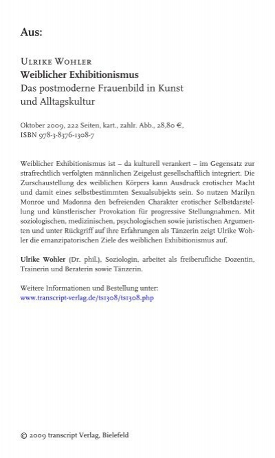 Ulrike Wohler Weiblicher Exhibitionismus Das Postmoderne