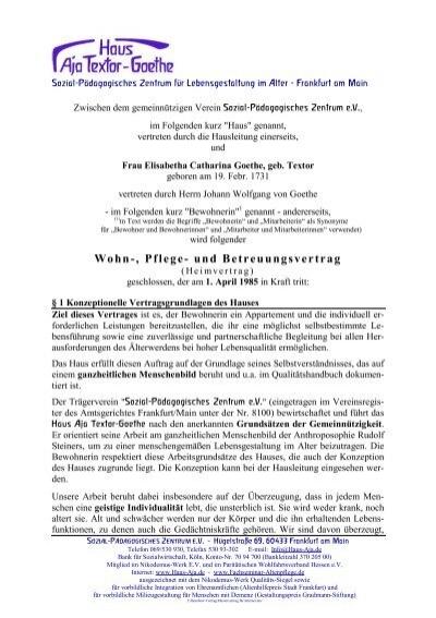 Mustervertrag Heim Haus Aja Textor Goethe 99