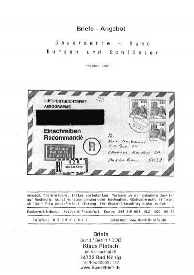 Dauerserie Burgen Und Schloesserbund Bund Briefede