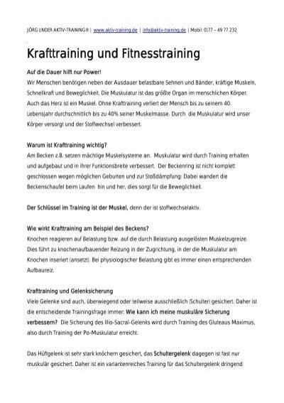 Infos über Kraft- und Fitnesstraining - JÖRG LINDER AKTIV-TRAINING