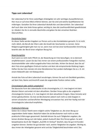 Tipps Zum Lebenslauf Duales Studium Hessen