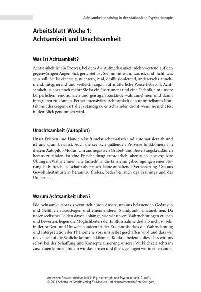 Arbeitsblatt Woche 1: Achtsamkeit und Unachtsamkeit1