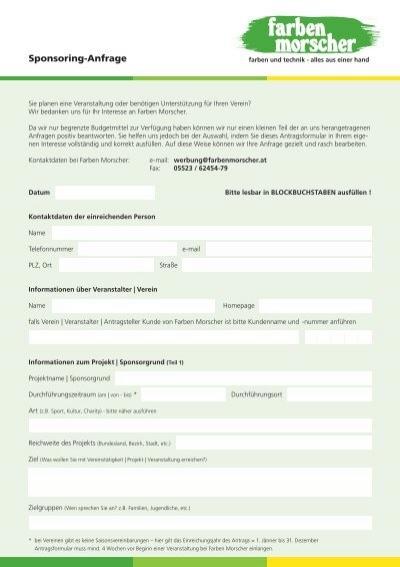 sponsoring anfrage