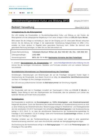 Bfd Kubi 13 14 Beiblatt Verwaltung Pdf Fsj Kultur In Nrw
