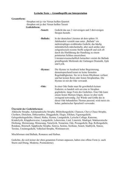 Lyrische Texte - Grundbegriffe zur Interpretation ...