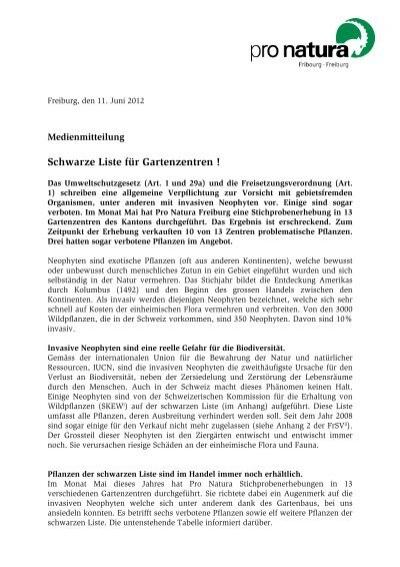 Neophyten: Schwarze Liste Für Gartenzentren.   Pro Natura Fribourg