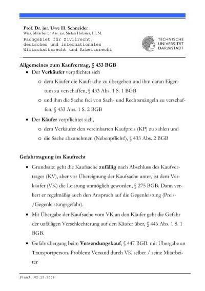 Allgemeines Zum Kaufvertrag 433 Bgb Der Verkäufer