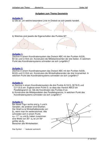 Aufgaben Geometrie Dreiecke - Soenkevoss.de