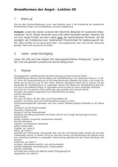 Grundformen der Angst - Lektion 09