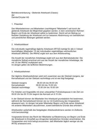 Betriebsvereinbarung - Gleitende Arbeitszeit - Ergonomics-berlin.de