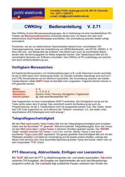 CWKtiny Bedienanleitung V. 2.71 - Proehl-elektronik.de