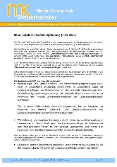 Neuregelung 13b Umsatzsteuergesetz Steuerberater Martin