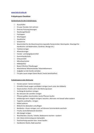 Frühjahrsputz Checkliste pdf zur frühjahrsputz checkliste hab ich alles