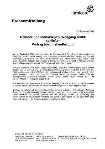 Umicore Und Industriepark Wolfgang Gmbh Schließen Vertrag über