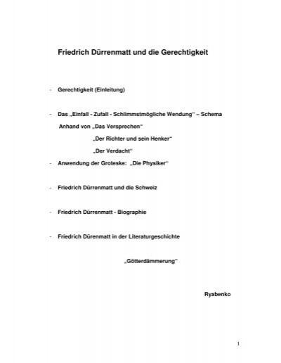 friedrich drrenmatt und die gerechtigkeit twoday - Friedrich Drrenmatt Lebenslauf