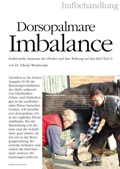 Dorsopalmare Imbalance. Funktionelle Anatomie des Pferdes und ...