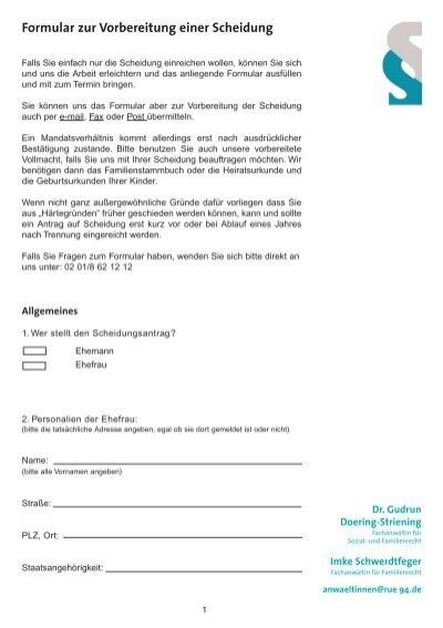Formular zur Vorbereitung einer Scheidung - Dr. Doering-Striening ...