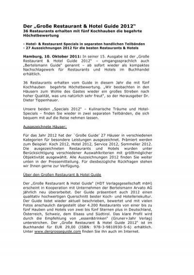 Pressemitteilung Der Grosse Restaurant Hotel Burg Schlitz