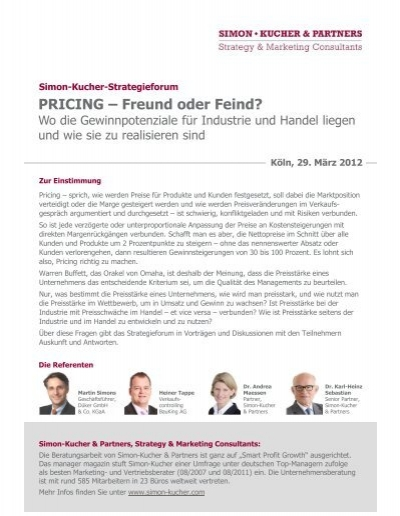 Pricing Freund Oder Feind Simon Kucher Partners