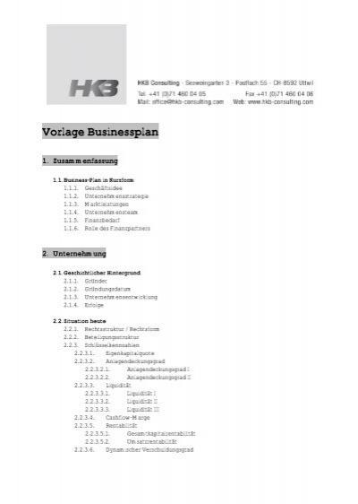 Vorlage Businessplan - HKB Consulting