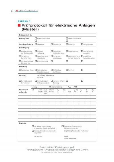 24 vbg fachinformation an - Prufung Elektrischer Anlagen Prufprotokoll Muster