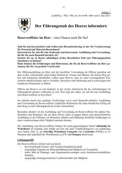 reserveoffizier im heer bundeswehr karriere - Bundeswehr Freiwilliger Wehrdienst Bewerbung