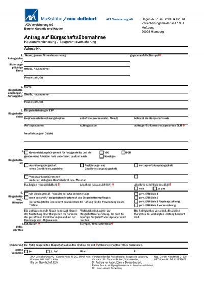 Antrag Auf Bürgschaftsübernahme Hagen Kruse