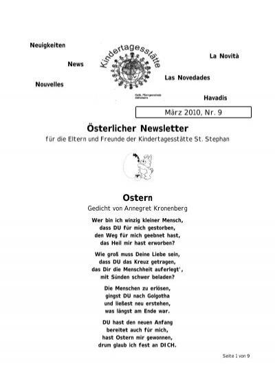 österlicher Newsletter Ostern Zeilsheim
