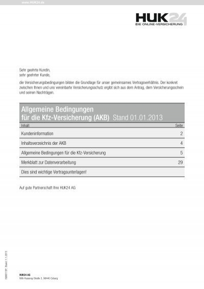 Allgemeine Bedingungen Fur Die Kfz Versicherung Akb Huk24
