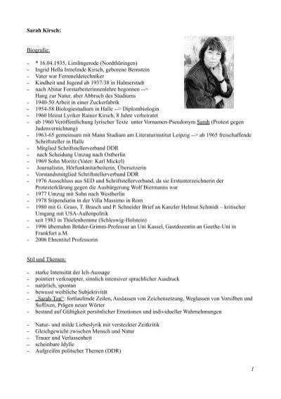 Sarah Kirsch Biografie 16041935 Limlingerode