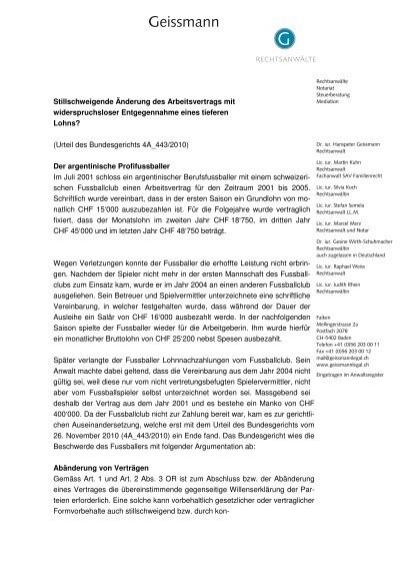 Stillschweigende änderung Des Arbeitsvertrags Mit Geissmann