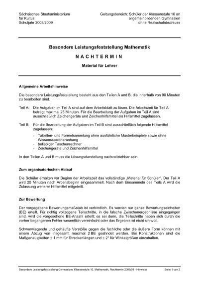 Besondere Leistungsfeststellung Mathematik