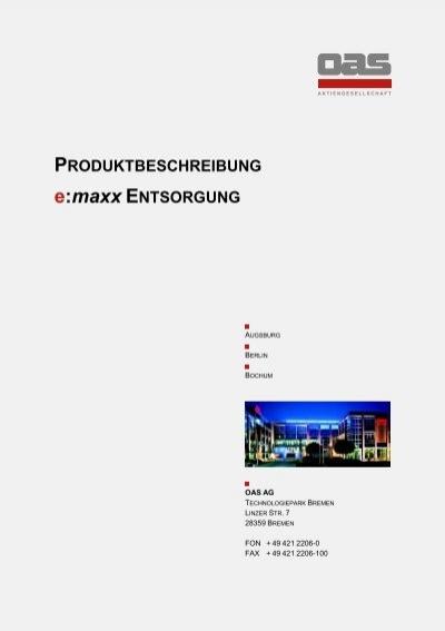 Produktbeschreibung e maxx entsorgung oas ag - Mobel entsorgung gratis ...
