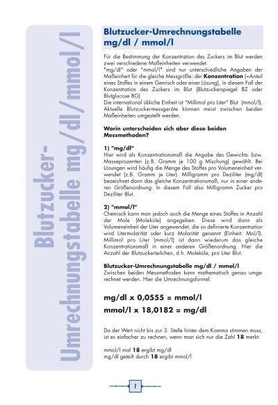 Messung und Umrechnung des Blutzuckers ✚ diabetes.moglebaum.com