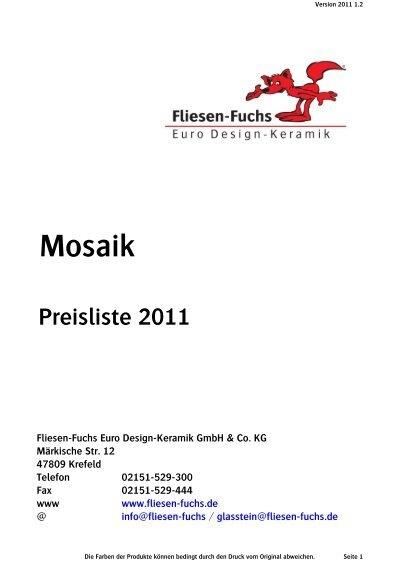 Mosaik FliesenFuchs - Fliesen preisliste
