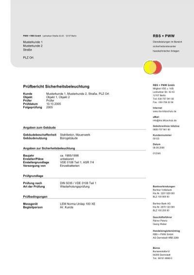 Prufbericht Sicherheitsbeleuchtung Rbs Und Pww Blitzschutz