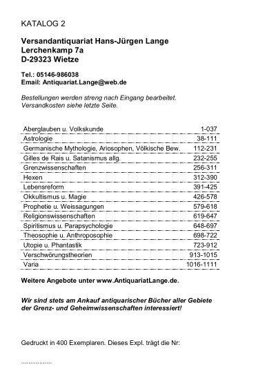 Occulta Antiquariats Katalog 2