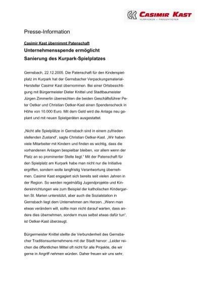 Presse Information Casimir Kast Gmbh