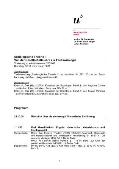 Soziologische Theorie I - Peter Schallberger