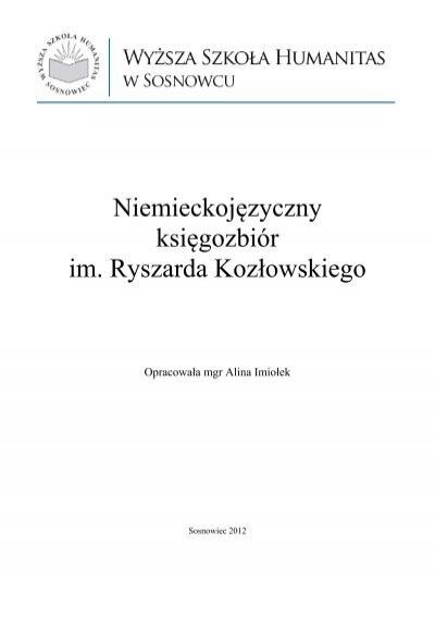 Niemieckojezyczny Ksiegozbior Im Ryszarda Kozlowskiego