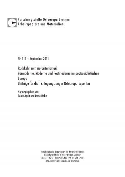 Agenda Setting Forschungsstelle Osteuropa Universität Bremen
