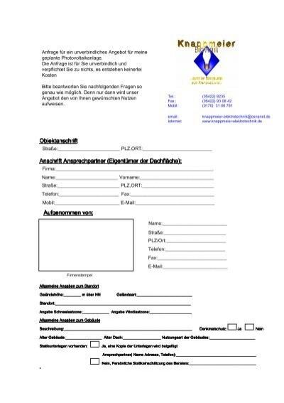 Formular Zum Dachaufmaß Knappmeier Elektrotechnik