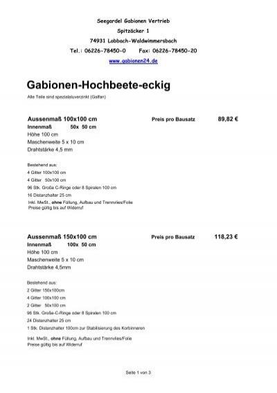 Gabionen Hochbeete Eckig Gabionen24 De