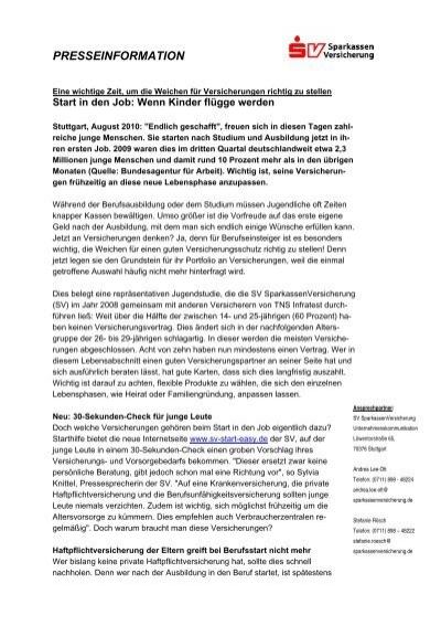Presseinformation Sv Sparkassenversicherung
