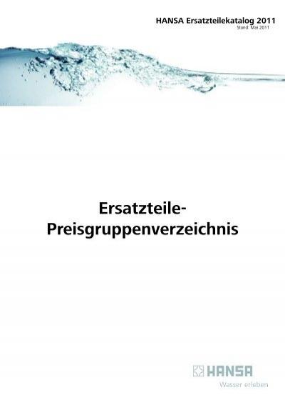 Ersatzteile Preisgruppenverzeichnis Hansa