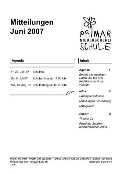Infos Mitteilungen der Schulleitung - Schule Niederscherli