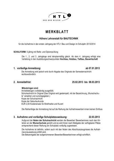 MERKBLATT - HTL1 Bau und Design